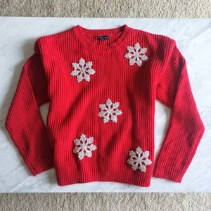 Verve Ami Red Snowflake Sweater Ribbed Knit Small